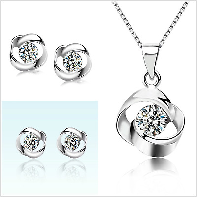 Gorgeous Daisy Silver Earrings & Necklace set UK seller
