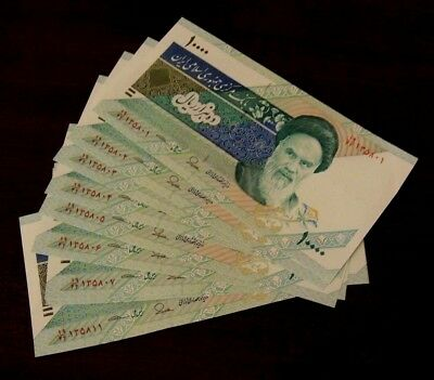 10x 10000 Series Iranian Iran Rial Khomeini Collectible Uncirculated Paper Money