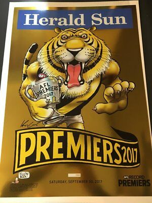 2017 Richmond Gold Foil Limited Edition Premiers Premiership Mark Knight Poster