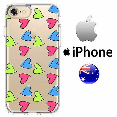 iPhone Silicone Case Cover Cute Love Heart Green Pink Sketch Hand Drawn Girly AU
