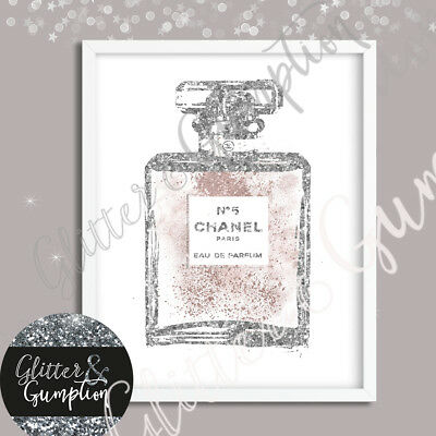 Abstract Iconic faux glitter dusty pink Perfume bottle beauty room art print