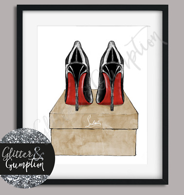 Fashion poster watercolour louboutins heels box Beauty Room wall art print