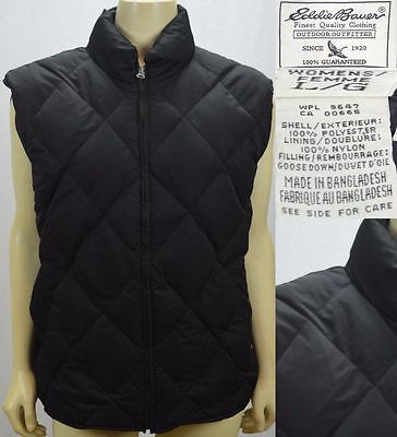 Eddie Bauer Quilted Goose Down Puffer Vest Women's Size Large Black