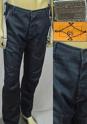 G Star Raw Jeans Vintage 5620 Tapered With Suspenders Men's Size 34 X 32 Blue