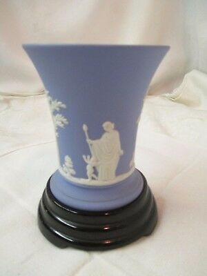 Vintage England Wedgwood Blue Jasperware Vase On Black Glass Stand