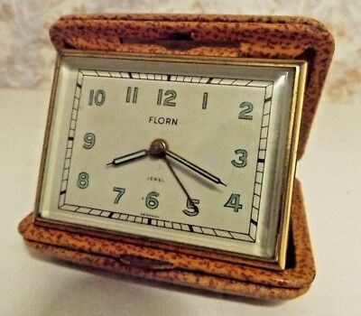 Vintage Florn Jewel Luminous Travel Alarm Clock  Germany - U.S. Zone