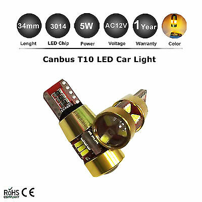 2x T10 194 168 W5W 3014 27 SMD AC 12V LED Light Bulbs Amber Yellow Side Indictor