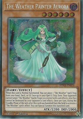 3X Yu-Gi-Oh Card: The Weather Painter Aurora - Secret Rare - Spwa-En034 1St Ed