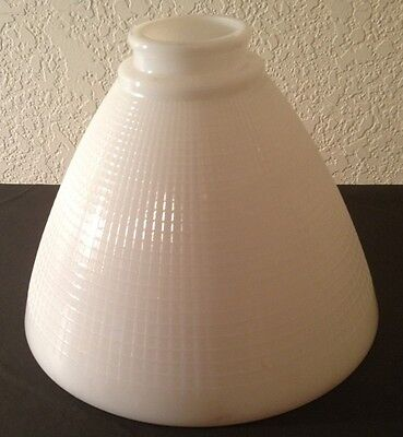 "Vintage Waffle Shade Diffuser White Milk Glass Torchiere Lamp 2.25"" Fitter (8"" W"
