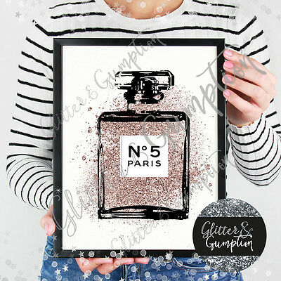 Abstract Rose Gold Faux Glitter Splash abstract perfume bottle art sketch print