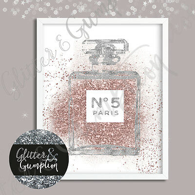 Abstract Rose Gold Silver Faux Glitter abstract perfume bottle art sketch print