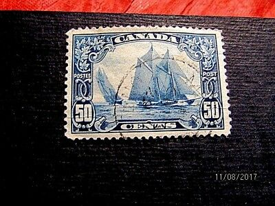 158 50c Bluenose, used, well centered, crease at bottom, cat 65.