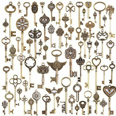Wholesale 69 Pieces Large Antique Bronze Vintage Skeleton Mixed Key Charms