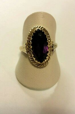 Anello in Oro 18 Kt con ametista idrotermale.Vintage Rare Ring Made in Italy