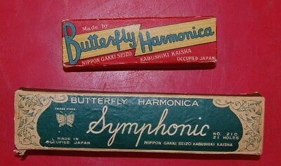 Set of 2 Vintage Butterfly Harmonicas 10 Hole & 21 Hole ~ Made in OCCUPIED Japan