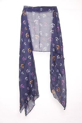 Ladies Nautical Theme Colorful Navy / Anchor Print Statement Scarf (S251)