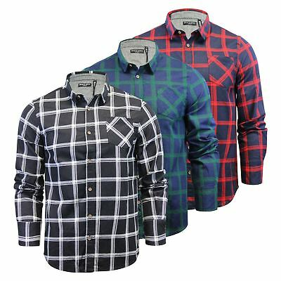 Mens Check Shirt Brave Soul Mendell Flannel Brushed Cotton Long Sleeve Casual