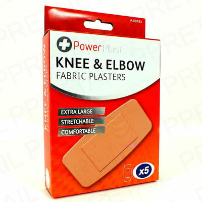 Knee And Elbow Fabric Plasters - 5 Pack