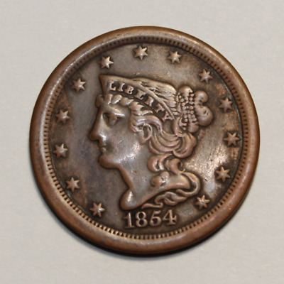 1854 Braided Hair Half Cent USA