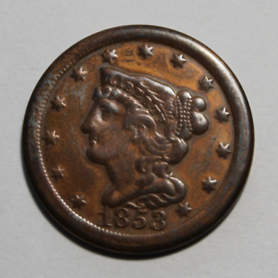 1853 Braided Hair Half Cent USA
