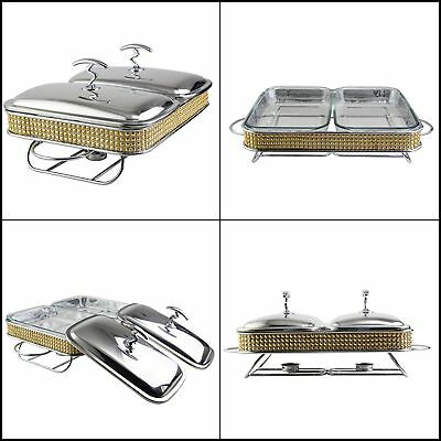 Double Glass Container Warmer Chafing Dish Buffet Stainless Steel Warmer Set NEW