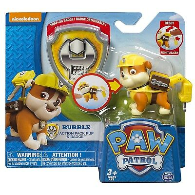 Paw Patrol Action Pack Pup Rubble Jackhammer Puppy & Badge Figure Kids Boys Toy