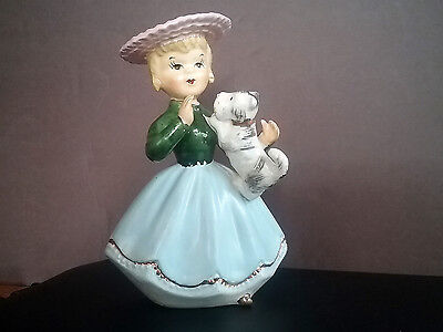 VINTAGE LADY and SCOTTY DOG FIGURINE by Orion Japan w/foil sticker