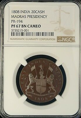 1808 India 20Cash NGC PF 67 BN CAM Madras Presidency PR-194