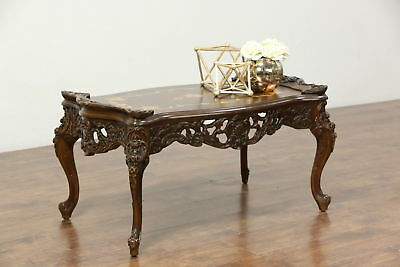 Carved Vintage Coffee Table, Inlaid Marquetry & Burl Top