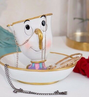 Disney Official Beauty And The Beast Ceramic Chip Jewelry Dish Tray Brand New
