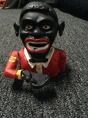 Vintage Cast Iron Black Face Black Old Americana Mechanical Coin Bank
