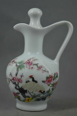 Collectable Handwork Porcelain Paint Plum Blossom & Crane Lucky Elegant Tea Pot