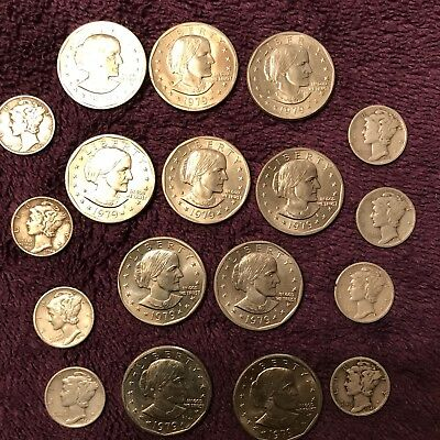 1979 Susan B. Anthony Dollars 10 Coins And 8 Silver Mercury Dimes