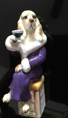 "Vintage Enesco ""The Bar Hound"" MISS RITZ COCKER SPANIEL  Dog Figurine, 6"" tall"