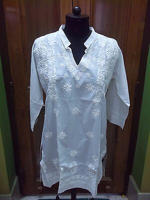 "Handmade Chikan Embroidery Dress M 41"" Tunic Kurti Ethnic Kurta Top 100% Cotton"