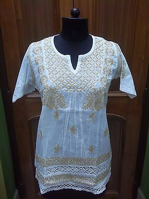 "Floral Chikan Ethnic Handmade Embroidery 100% Cotton Top Kurta Kurti M 40"" Tunic"