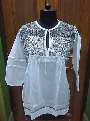 "100% Cotton M 40"" Chikan Embroidery Handmade Ethnic Top Blouse Kurta Kurti Tunic"