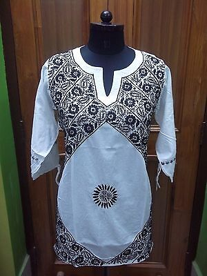 "Kurta Top Shirt Kurti M 40"" Handmade Ethnic 100% Cotton Chikan Embroidery Tunic"