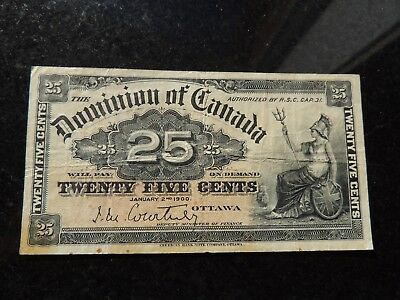 1900 DOMINION OF CANADA SHINPLASTER 0.25 CENTS PAPER COURTNEY DC-15a