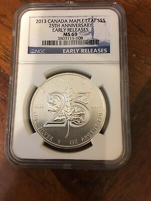 2013 Canada $5 Maple Leaf 25th Anniversary Silver - NGC MS69 - Early Releases