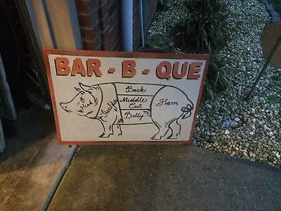 Vintage Metal Bar-B-Que Pig Restaurant BBQ Pig Parts Butcher Farm Sign GAS OIL