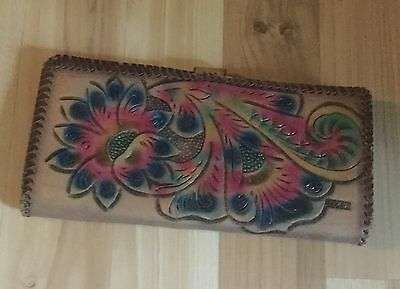 Vintage Tooled Leather Wallet Clutch Colorful Floral Western Design