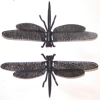 """2 Coated Metal 11"""" X 5-1/2"""" Dragonfly Garden Decorations / Wall Sculpture"""