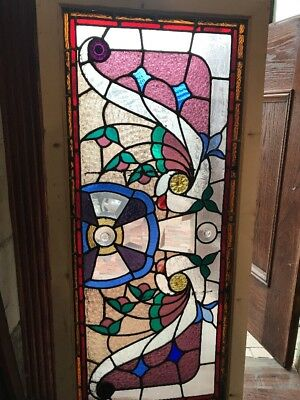 SG 1658 amazing antique Stainglass jeweled transom window 25 x 54.5