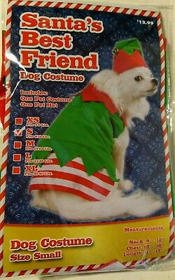 Santa's Best Friend Helper Holiday Elf Christmas Dog Pet Costume Size Small NEW