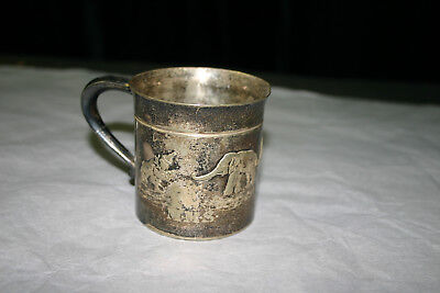 Derby International Child's Silver Cup With Elephants Engraved EPNS