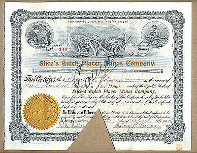 Vintage 1907  Cancelled Stock Certificate Sumpter Oregon