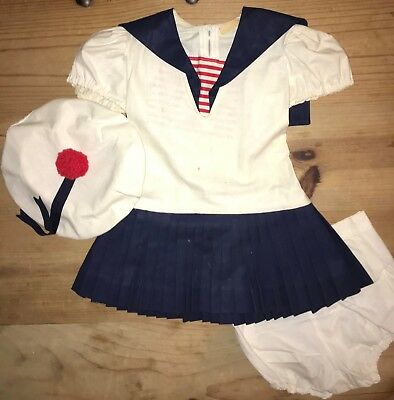 Girls Vintage 3 pc Outfit Sailor Dress Hat Bloomers Shirley Temple Style 1940s