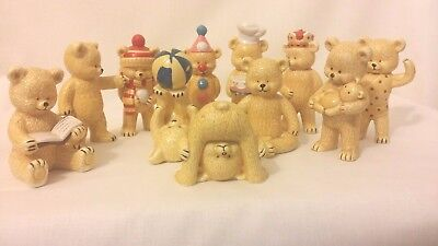 Porcelain Bears, The Danbury Mint Collection, Fine Bone China, Lot of 11, cute!