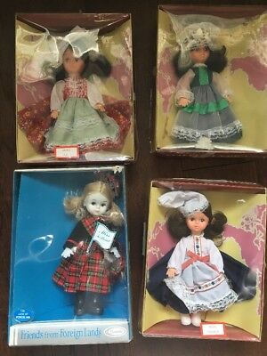 Vintage Lot 4 Dolls of All Nations Bride Miss  Italy France Scotland Ireland